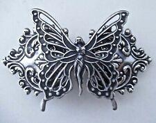 BUTTERFLY FAIRY ANTIQUED SILVER ORNATE BARRETTE ~ A BEAUTY!