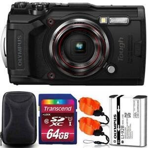 Olympus Tough TG-6 Digital Camera Black + 64GB Memory Card + Strap & Case