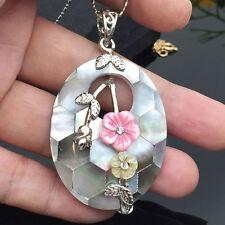 2017 Unique Valentine Carved Cameo Shell Gemstone Flower  Vintage Silver Pendant