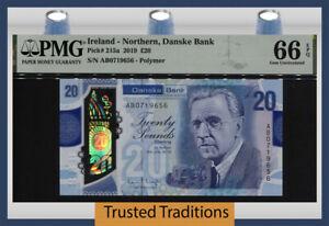 TT PK 215a 2019 IRELAND NORTHERN DANSKE BANK 20 POUNDS PMG 66 EPQ GEM UNC!