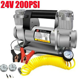 Heavy Duty Auto Tire Inflator 24V 200PSI Portable Car Tyre Air Pump Compressor