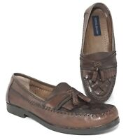 Giorgio Brutini Austin Loafers 10.5M Woven Tassel Kilt Brown Leather Shoes