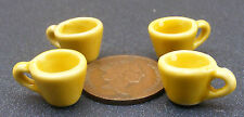 1:12 Scale 4 Yellow Ceramic Cups Dolls House Miniature Kitchen Drink Accessories
