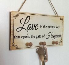 Beautiful Handmade Key Holder Hook Plaque Love Key Gift Sign Present Chic
