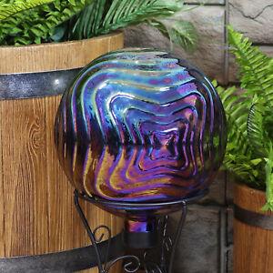 Sunnydaze Blue, Purple and Gold Rippled Outdoor Glass Gazing Globe - 10-Inch