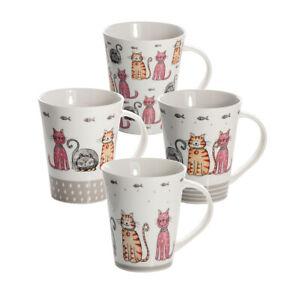 Cat Mugs Cups Set 4 Coffee Tea Porcalain China Cute Cats Design Cat Lovers Gifts