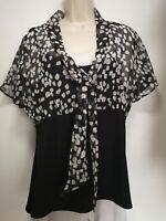 Wallis Black and Grey Short Cap Sleeve Tie Top - Size 16 (465)