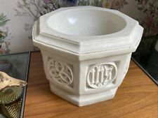 More details for antique ecclesiastical church 8 sided baptismal font ceramic 1914 h & l