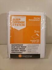 2 pk Standard Pillow Zippered Encasement Hypoallergenic Waterproof Bed Bug Proof