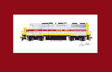 """North Shore Railroad GP38 #2017 11""""x17"""" Matted Print Andy Fletcher signed"""