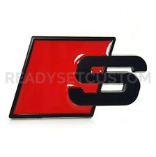 Audi S Badge- Black and Red - Back / Side Styling Metal Decal Sline Quattro