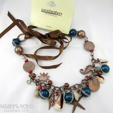 NEW AARON BROTHERS COPPER TONE NECKLACE CRYSTALS SHELL CHARMS RIBBON NWT $60