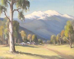 "Original Oil Painting Ernest Salter (Brit Aust 1896-1974) ""Snow on Feathertop"""