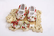 VINTAGE BABY LACE FLORAL GIRLS SHOES & HEADBAND SET/CRYSTAL & PEARLS CHRISTENING