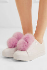 NEW SAM EDELMAN Leya PINK Fur Trimmed Leather Slip On Sneakers White Shoes 7.5