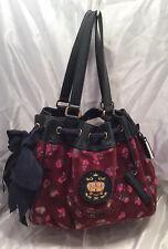 Juicy Couture Handbag Velour Shoulder Bag Purse Leather Trim Burgundy