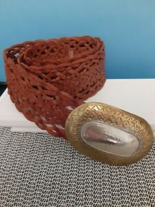 Chico's  Moroccan Hand Woven Brown Leather Belt W/ Brass & Hammered Metal Buckle