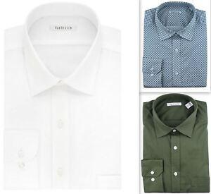 Mens Dress Shirt Van Heusen Regular Fit Stretch Cotton Long Sleeve