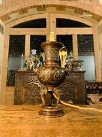 19th C Meiji Japanese Bronze Elephant Table Lamp, Antique Light, Elephant