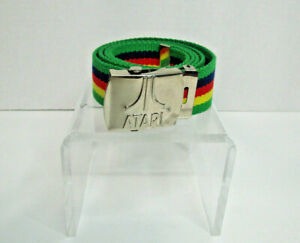 VTG Atari Game System Belt Adjustable Silver Buckle W/Logo Green Blue Red Yellow