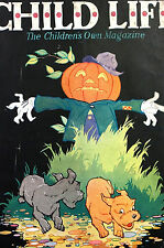 Halloween Child Life Cover 1931 PUMPKIN SCARECROW Scare DOG and CAT Print Matted