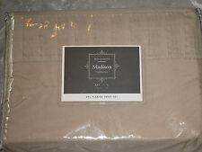 King Beige Pleated Sheet Set Polyester Bed Sleep Machine Washable NEW!