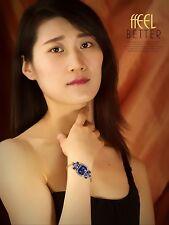 Bracelet Doré Art Deco Bleu Saphir Geometrique Verre Facetté Simple Mariage CT9
