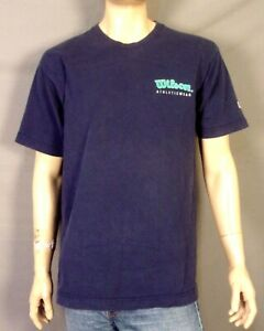 vintage 90s Wilson men's Rare Spell Out Logo T-Shirt Classic USA made SZ L