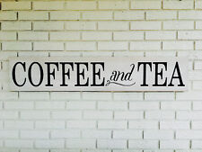 "Large Rustic Wood Sign - ""Coffee and Tea"" - 4 Ft Long - Farmhouse, Rustic"