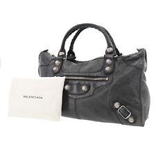 BALENCIAGA The Giant City Hand Bag Black Leather Italy Vintage Auth #AB379 O