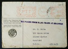 Ireland 1954 K.L.M. CRASH ENVELOPE Left Shannon Airport and Tail Touched Ground