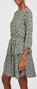 New Stradavarious Size M 10 12 Tiered Smock Tea Dress Floral Ditsy
