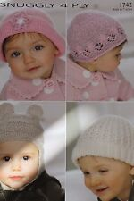 Sirdar Snuggly Knitting Pattern 1742. Sweet little childrens hats birth to 7 yrs