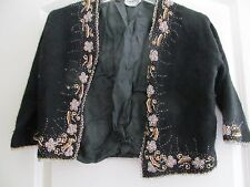 Vtg Gold Beaded Black Cardigan Sweater 50's Kee Zang Kowloon Hong Kong