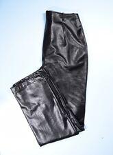 JOSEPH RIBKOFF $285 Black Lightweight Faux Leather Ankle Zipper Pants 8