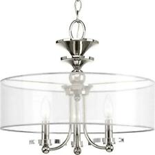 Progress Lighting March Collection 3-Light Polished Nickel Semi-Flush Mount