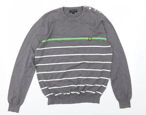 Lyle & Scott Mens Grey Striped Knit Pullover Jumper Size L