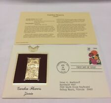 Garden Flowers Zinnia Stamp, April 28, 1994 FDC and 22kt gold replica
