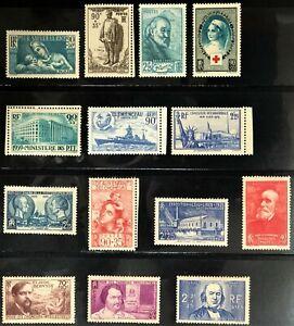 FRANCE LOT 1939 COMPLETE SETS MINT HINGE * CV 125 $+1 Booklet RED CROSS 1995 MNH