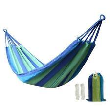 One Person 200*80cm Portable Polyester & Cotton Hammock Blue & Green Strip