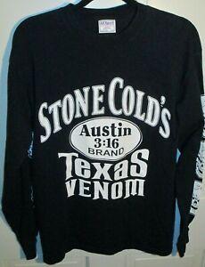 01 WWF Stone Cold's Texas Venom 101 PROOF Men's Black L/S Shirt L VTG WWE AUSTIN