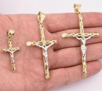 Jesus Christ Crucifix Cross Filigree Pendant Real 10K Yellow White Gold ALL SIZE