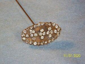 Antique Rhinestone Victorian Hat Pin Stick Pin
