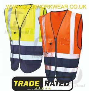 High Visibility Hi Viz Reflective Safety Vest Work Executive Pockets Zip Front