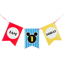Mickey & Minnie Mouse 1st Birthday I AM ONE TODAY Birthday Banner