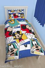 SINGLE BED MICKEY MOUSE POLAROID DUVET COVER SET GOOFY DOGS STARS BLUE WHITE RED