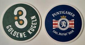 3 goldene Kugeln___PUNTIGAMER Bier___Bierdeckel Österreich