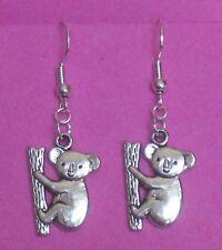 .925 Sterling Silver hooks Handcrafted Koala Bear dangle double sided earrings