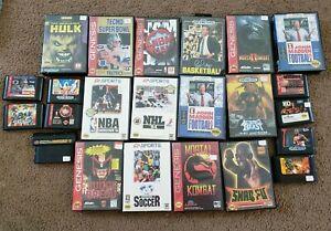 Sega Genesis 23 pc lot Football NBA Soccer Hulk Sonic Mortal Kombat
