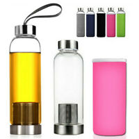 550ML Glass Tea Water Bottle Drink + Filter Infuser Cup Mug Bag BPA Free Travel